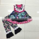 2016 China Wholesale Yiwu Cheap Baby Girl Summer Boutique Clothing Trendy Floral Top Mathing Pant set
