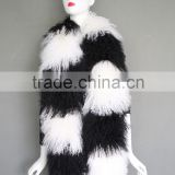 Wholesale London Brand Black and White Fashion Accessories Lamb Real Mongolian Lamb Fur Scarf