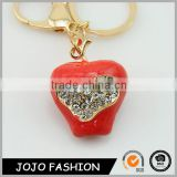 Fashion Design Crystal Apple Keychain,Big Red Apple Keychain/