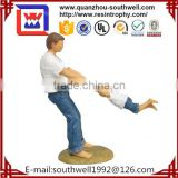 Father and Daughter Blue Jeans Swinging Resin Figurine