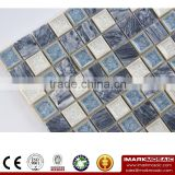 Imark Crackle Glazed Ceramic Mosaic Tile Patterns mix China Black & White Marble Mosaic Stone Tile For Bathroom Backsplash Tile