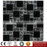 IMARK Black Color Crystal Glass Mosaic Tiles with Ice Crackle Mosaic Tiles for Wall Backsplash Code IVG8-057