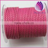 wholesale rose pink color 3.0mm braided genuine leather cord for bracelet