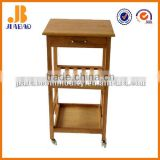 wooden serving trolley
