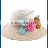 hot new products for 2014 Spring and summer Bow spell color flowers large brim straw hat outdoor sun cannabis lady hate para str
