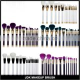 Low MOQ hottest selling unique design 15pcs cosmetic makeup brush set with colorful hair