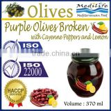 High Quality 100% Tunisian Table Olives,Purple Olives Broken with Cayenne Peppers and Lemon, Purple Olives 370 ml Glass Jar