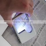 Credit Card 3x 6x LED Light Head Magnifying Glass Lamp Jewelry Loupe Magnifier + Leather Case