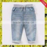Fancy infant boby boys adjustable elastic waist denim jeans blue skinny pants clothes