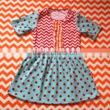 Kid Ball Gown Dresses Wholesale Newborn Dress Red Chevron Match wathet Polka Dot Kid Clothes Cotton Fancy Dresses for Girls
