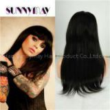 Sunnymay100% Virgin Peruvian Full Lace Human Hair Wigs With Bangs Straight Lace Front Wig For Black Woman Virgin Hair Wigs Bangs