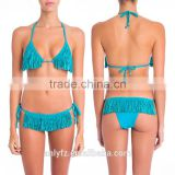 2017 New Sexy Swimwear Women Hot Summer Blue Tassel Halter Bikini Bathing Suit