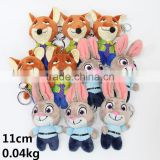 Hot Sale For Kids Dolls Funny Cartoon Zootopia Anime Fox And Rabbit Keychain Cute Plush Pendant 10pcs/set