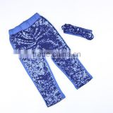 Baby Girl Blue shiny Leggings Sequin Fabric gold Pant Wholesale Kids sequins Pants with blue solid sequins headband