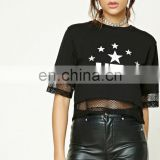Attractive design black short seeve USA metallic graphic crop top