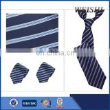 hot sale skinny dark blue stripe women's necktie