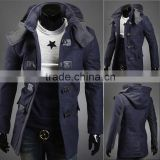 winter warm wool blend navy blue Mens long sleeve overcoat Jacket with short tog parka trench outerwear with winter warm hooded