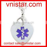 vnistar wholesale metal alloy heart shaped medical caduceus charm for charm necklace TC184