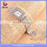 New trendy white squrare dial plate watch hot selling thai silver china watch (1069S99A)