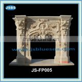 Carved marble fireplace with flower statue
