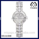 Austrian Crystal Delicate Vintage Round Mix Style Watch Fashion Wrist Bracelet Watch Crystal Full Drill Pointer Female