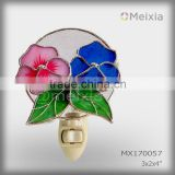 MX170057 wholesale tiffany style flower decorative plug in stained glass baby night light