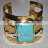 Turquoise filled jewelry brazil style gold cuff bangle bulk buy from china