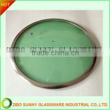 Round toughen Green color glass pot cover