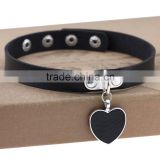 Wink Gal Trendy Chokers Necklaces Rock Style Leather Steam punk Punk Heart Necklace Pendants