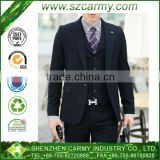 Newest Man's Super Quality Black Viscose & Polyester 3-Pieces-Suits