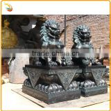 Chinese Style Foo Dog Antique Brass Lion Statue