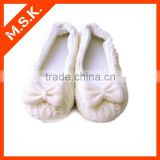 Knitted Fabric Upper White Ballet Dance Shoe With Bowknot