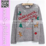 Wholesale adult gray ugly christmas jumper sweater with snowflake and deer                                                                         Quality Choice
