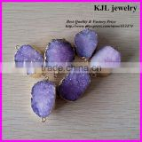 KJL-A131 purple color druzy gemstone,amethyst quartz semi-precious,crystal agate drusy stone connector charm