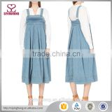 Square neck sleeveless box pleat detailing silver-toned hardware contrast stitching flared hemline women Denim Dress
