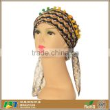 Womens colorful pre tied muslim hats and fashion head scarves