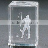 pure 3d laser crystal picture frame for fishing engraved (R-0079))