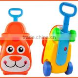 Children plastic luggage 5 in 1 luggage ride on toys pull along toys mini kids travel trolley