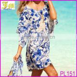 Womens Fashion Blue White Porcelain Beach Dress Vintage Retro Fashion Casual Swimsuit Bikini Cover Skirt