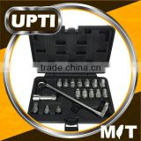 Taiwan Made High Quality New 17pcs Flexible Ratchet off Beam 75 Degree Box End GO-Through Wrench Socket Set