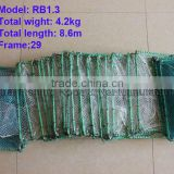 29 sections frame steel wire fish trap PE mesh