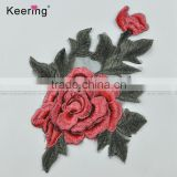 25*18.5 Flower Motif Lace Applique Iron On embroidery Patch for Garment accessories
