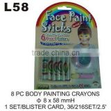 L58 8 PC BODY PAINTING CRAYONS