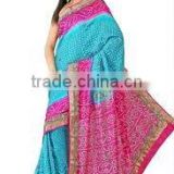 Designer Indian Bandej Saree/sarees, navel saree/saris, bridal wear silk saree