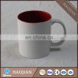 11oz sublimation inner color mugs,white handle,red,pink,yellow,green etc.available color
