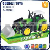 Battery operated plastic green friction toy tractors for children