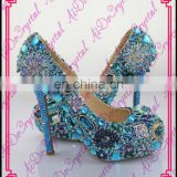 Aidocrystal aquamarine custom rhiestone high heels,luxury jewelry sexy stiletto shoes,fashion party dress shoes