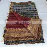Reversible Handmade Re-cycled Silk Scarf / Stole Multicolor Multiuse Unique Handwoven Kantha Work Neck Wrap scarves