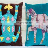 Cotton Velvet Indian Handmade Animal Royal Design Ethnic Style Cushion Cover