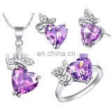Heart Shape Violet Diamond sets Wth earings ring and necklace
